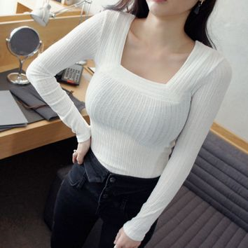 New spring and summer leisure lapel long-sleeved shirt pit strip minimalist Slim stretch T-shirt shirt