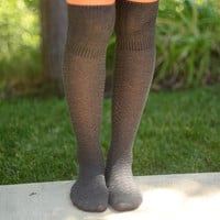 Over The Knee Socks- Charcoal