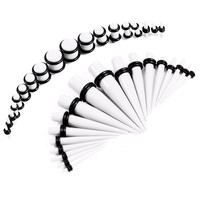 BodyJ4You Gauges Kit 18 Pairs White Acrylic Tapers & Plugs 14G 12G 10G 8G 6G 4G 2G 0G 00G 36 Pieces