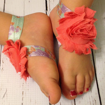 Floral Baby Barefoot Sandals.. Toddler Barefoot Sandals... Baby Barefoot Sandals