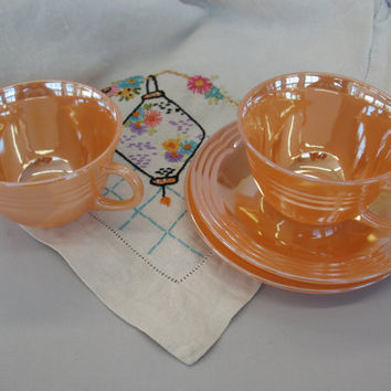 Vintage Fire King - Three Rings Fire King Peach Cups Saucers