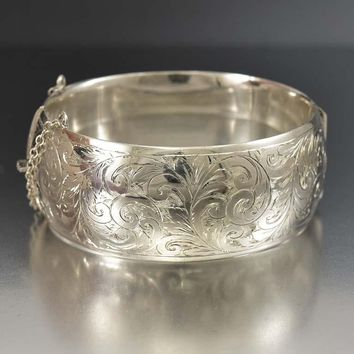 Outstanding Vintage Engraved Wide Silver Cuff Bracelet