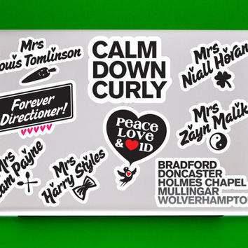 5 One Direction Mini-Vinyl Sticker Set - (1D Vinyl Sticker Wall Sticker PC Apple Macbook Mac Geekery)
