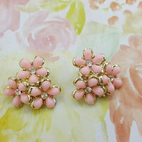 Coro Soft Pink  Thermoset clip earrings Mint Condition Art Deco  Gold  setting Bright  Cheery