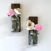 Mason jar sconce tall set of 2, mason jar vase, wall mason jar, bathroom storage, hanging mason jar, mason jar planter, mason jar decor