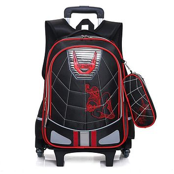 Waterproof Wheeles Bags School Boys 2017 Removable Trolley Backpack School Children Large Capacity Book Bags Travel Luggage Bag