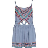 Blue embroidered cut out playsuit - cover-ups - swimwear / beachwear - women
