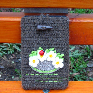 Crochet iPad cozy,iPad cover ,flower iPad case,iPad sleeve