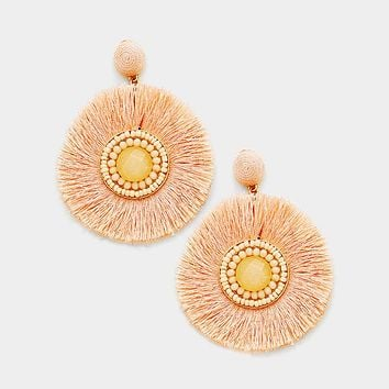 Stone Detail Thread Fringe Round Disc Earrings