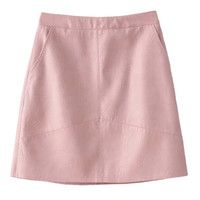 Pink High Waist Leather Look A-line Skirt