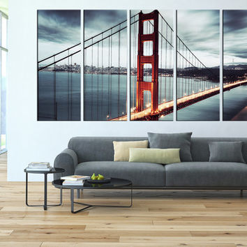 Golden Gate Bridge Canvas Wall Art, San Francisco California Skyline  Sunset, Large Wal