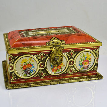 Floral Tin Bank West Germany - Latching lid - Linette - Floral Bouquets Coin Style - Biscuit Tin - Bank Vintage Storage Decor