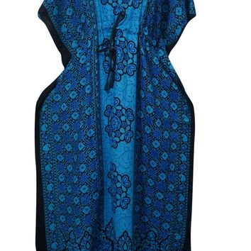 Women's Long Kaftan Blue Floral Print Kimono Hippie Caftan House Dress One Size...