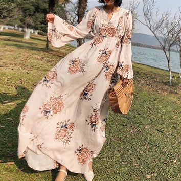 Boho maxi dress spring vintage floral print cotton flare lone sleeve empire long women dress bohemia floor-length dresses