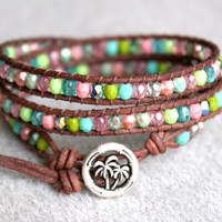 Turquoise Pink Green Boho leather wrap bracelet by OlenaDesigns