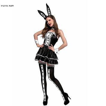 Black Sexy Bunny Girl Role play Cosplays Woman Halloween Bunny Rabbit Animal Costumes Carnival Purim Nightclub bar Party dress