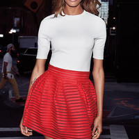 Red Mesh High Waisted Full Pleated Skirt from EXPRESS