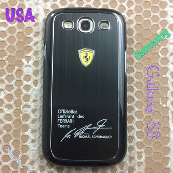 Ferrari Samsung Galaxy S3 Case Ferrari 3D Metal Logo With Aluminum Cover for S3 / i9300 - F1 Black
