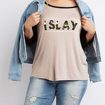 Plus Size I Slay Graphic Baseball Tee
