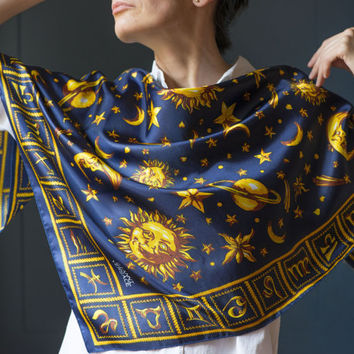 Vintage GIANNI VERSACE Scarf - Square Sun and Stars print Scarf - Vintage Classy Navy Gold Shawl - Astronomical Scarf Huge - Zodiac Scarf