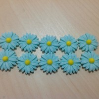 10 pcs Large Daisy (26 mm) Resin Flower Cabochon Flatbacks Light Turquoise