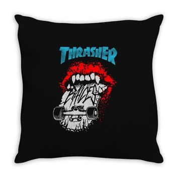 thrasher skateboards Throw Pillow