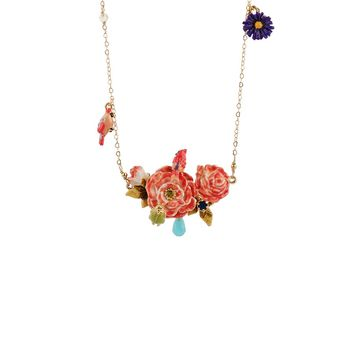 Les Néréides WINTER ROSES MULTI CHARM LONG NECKLACE