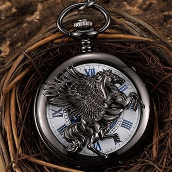 Retro Black Horse With Wing Hollow Hand Wind Vintage Mechanical Pocket Watch Men Steampunk Chain Watch Pendant Roman Numerals