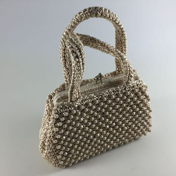 Vintage Ivory Ecru Off White Bead Raffia Woven Purse Retro Handbag Made In Japan