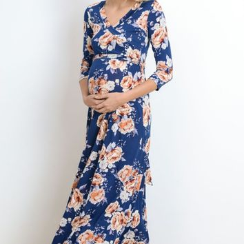 Floral Faux Maternity Wrap Maxi Dress