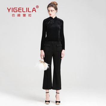 YIGELILA 5275 Latest 2016 Spring New Women Fashion High Waist Black Flare Pants