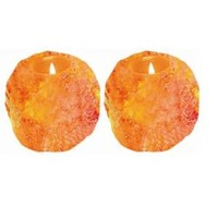 WBM Himalayan Ionic Crystal Natural Candle Holder set of 2- 1 Hole (2-3lbs)-3002 at The Home Depot