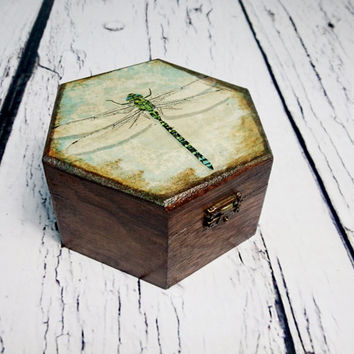 READY TO SHIP Trinket dragonfly small box decoupage keepsake gift for her steampunk rustic