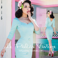 FREE SHIPPING Le Palais Vintage 2016 New Elegant Middle Sleeve High Waist V Neck Mint Green Slim Low Cut Dress Women Clothing