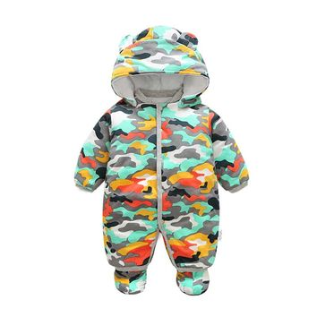 Baby Rompers Winter Baby boy Clothing Long Sleeve Hooded Jumpsuit Kids Newborn Outwear Thick Warm Baby Clothes Rompers for 0-12M