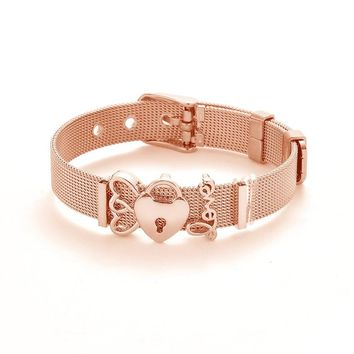 Fashion Rose Gold Color Stainless Steel Mesh Bracelet Set Gold Love Lock Charm Brand Bracelet Bangle for Woman Jewelry Gifts