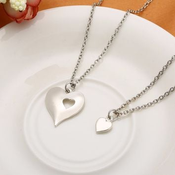 Vintage Silver Color Love Chain Necklaces Shellhard 2pcs/set Mother and Daughter  Two Hearts Necklaces & Pendants Charms Jewelry