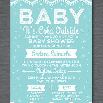 """Winter Baby Shower Invitation, Snow Baby Shower, Baby It's Cold Outside, Boy Baby Shower, Girl Baby Shower, Printable Invitation 5x7"""""""