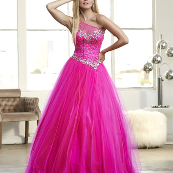 Mac Duggal 48100 One Shoulder Ball Gown Prom Dress Evening Gown $378