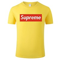 Supreme Tide brand high street cotton men and women round neck half sleeve T-shirt yellow