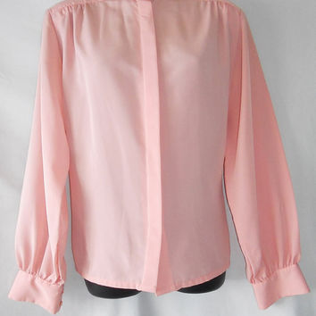 Vintage 60s 70s Pendleton Secretary Blouse Country Sophisticate Portland Oregon Peachy Pink Polyester