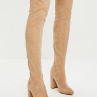 Missguided - Nude Pointed Faux Suede Over The Knee Boots
