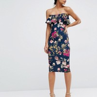 ASOS | ASOS Ruffle Print Bandeau Midi Dress at ASOS