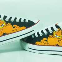 garfield cartoon handpainted shoes converse Custom one of a kind canvas