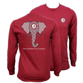 Southern Couture Alabama Crimson Tide Bama Tribal Chevron Elephant Long Sleeve Girlie Bright T Shirt Day-First™