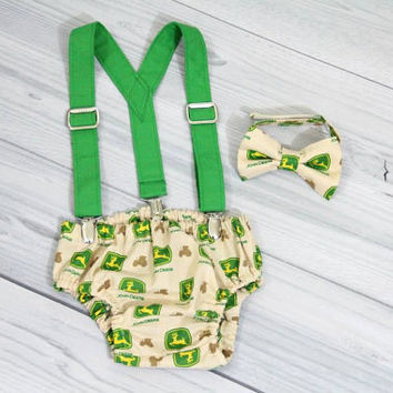 John Deere baby Bow tie, diaper cover and Green Suspenders, various sizes.  Birthday Cake Smash Set.