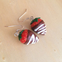 Chocolate Covered Strawberry Polymer Clay Earrings