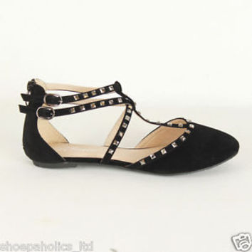 Embellished T-Strap Double Buckle Studded Decor Ballet Flats BLACK Size 7 TO 10