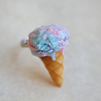 Cotton Candy Ice Cream Cone Adjustable Ring