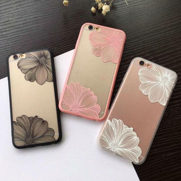 Original simple flowers iphone 6s phone shell iphone 6plus semi-shiny mat soft side protective cover